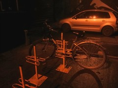 Strange bike stand in front of MyAvatar climbing centre in Krakow, Poland