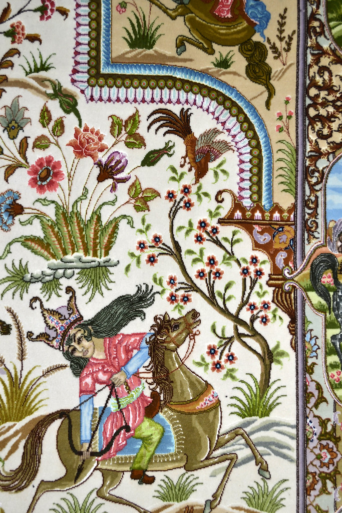 Tabriz 70 Raj - hunting scene Fine 7x10 (1)
