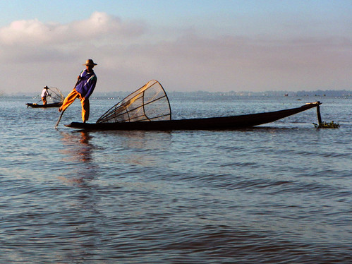 Fisherman Using Traditional Fishing Methods on Inle Lake, Myanmar