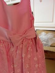 magenta(0.0), abdomen(0.0), sleeve(0.0), pattern(1.0), clothing(1.0), cocktail dress(1.0), peach(1.0), pink(1.0), dress(1.0),