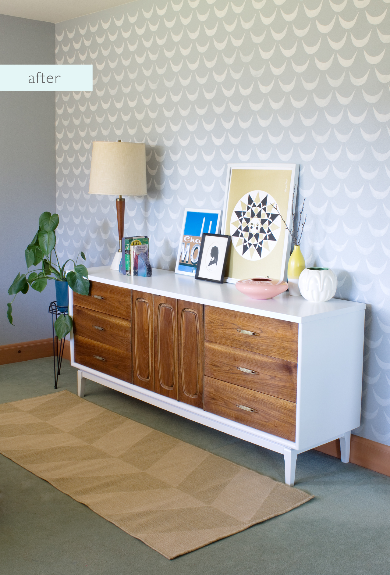 Mid Century Dresser Makeover - After