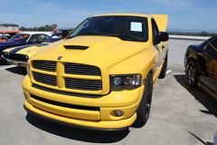 automobile(1.0), automotive exterior(1.0), pickup truck(1.0), dodge ram rumble bee(1.0), dodge ram srt-10(1.0), wheel(1.0), vehicle(1.0), truck(1.0), rim(1.0), ram(1.0), grille(1.0), bumper(1.0), land vehicle(1.0), motor vehicle(1.0),