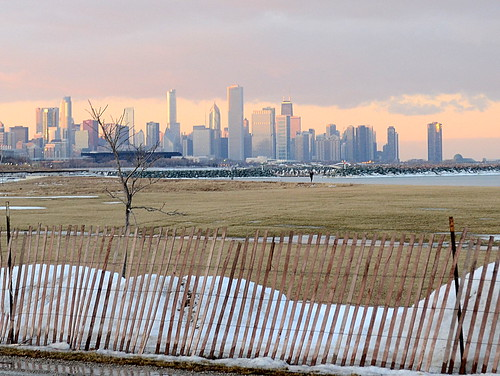 winter sunset chicago skyline dusk south side january chicagoist