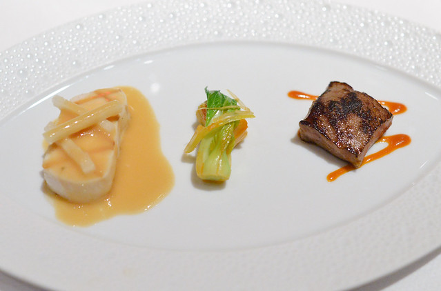 WHITE TUNA-KOBE BEEF Grilled Escolar and Seared Wagyu Beef; Fresh Kimchi, Asian Pear, Soy-Lemon Emulsion