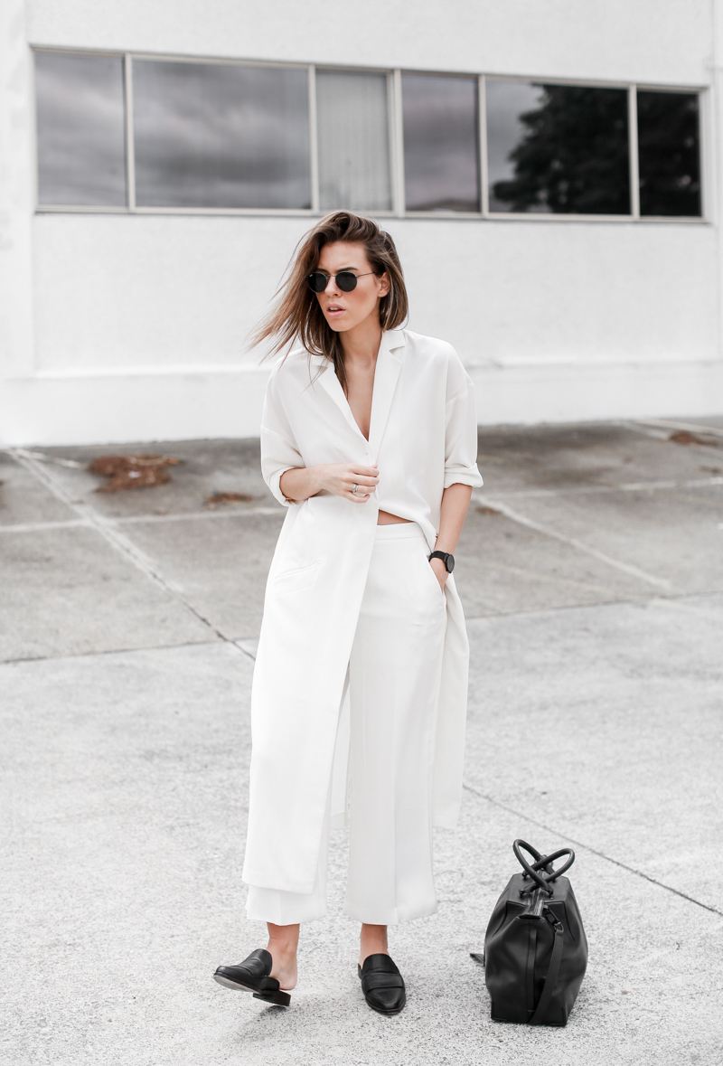 MODERN LEGACY fashion blog all white street style duster coat loafer mules Alexander Wang tote Larsson Jennings black watch 1 (1 of 1)