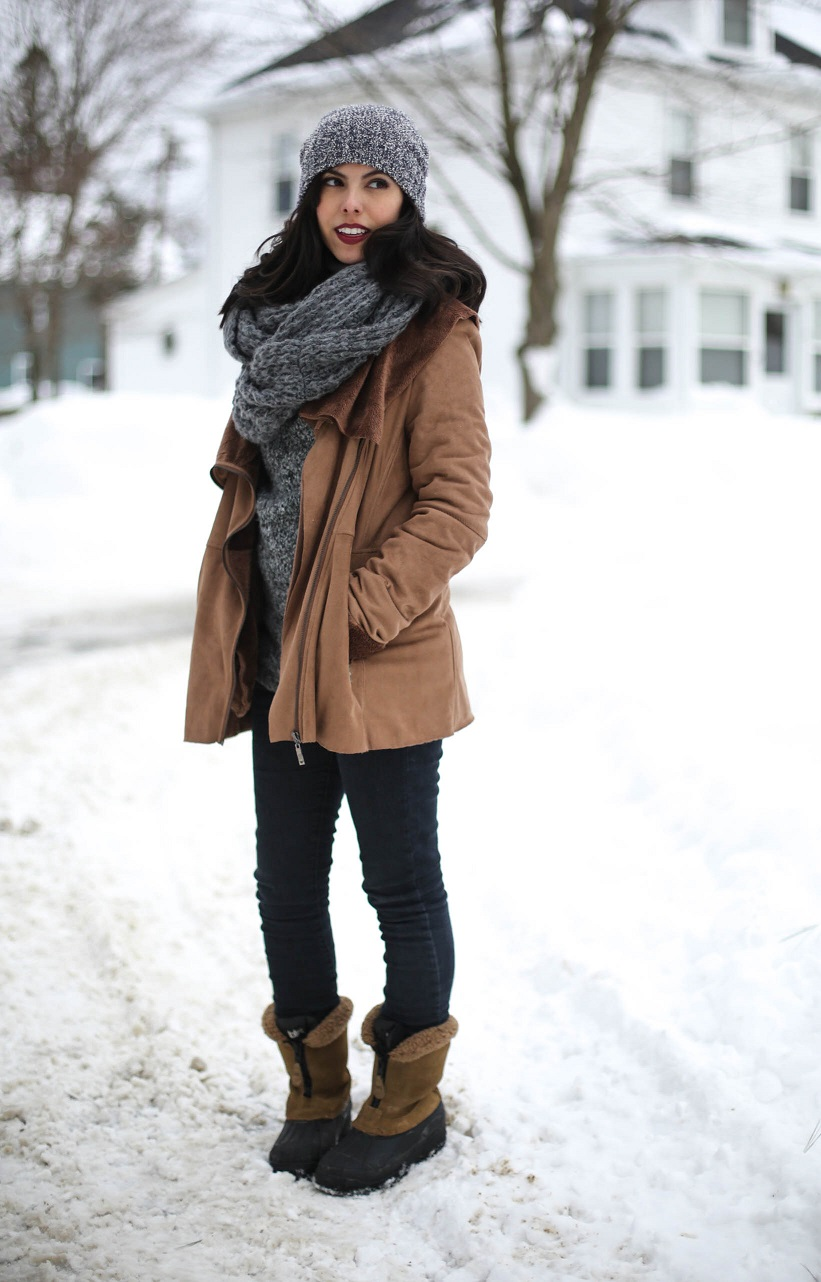 austin style blogger, casual winter look ideas, forever 21 beanie, asos scarf, forever 21 denim jeans