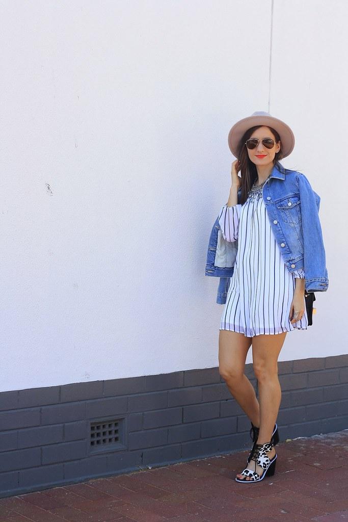 Stripe dress, blue denim jacket