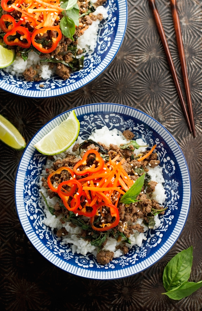 Thai Basil Beef - Quick and easy to make and ready in just 20 minutes. It'll be a hit with adults and kids alike! #thaifood #basilbeef #thaibasilbeef   Littlespicejar.com