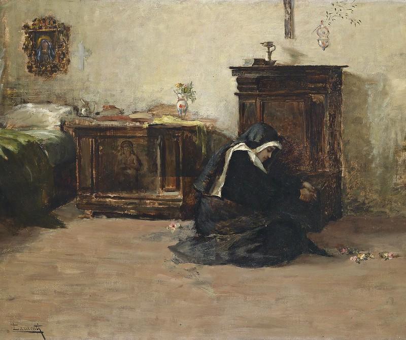 Cesare Laurenti - Junge Klosterschwester in ihrer Zelle (c.1900)
