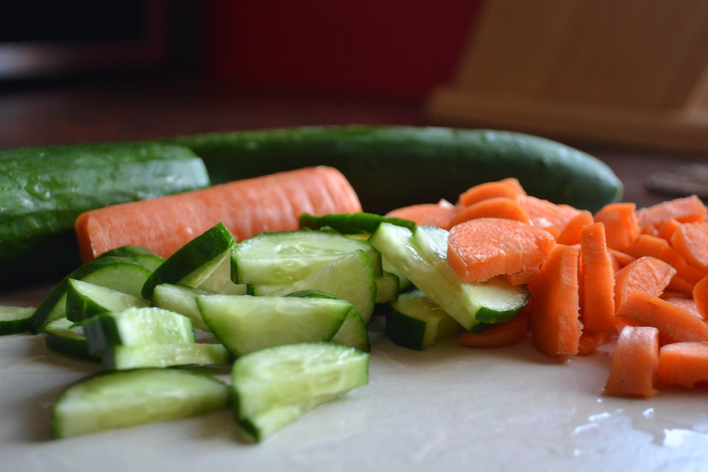 Carrots & Lebanese Cucumber cut into pieces