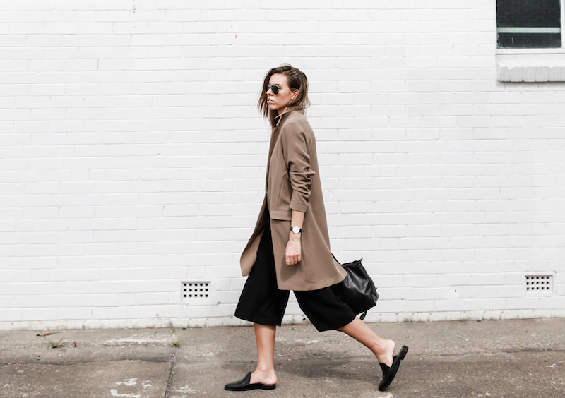MODERN LEGACY fashion blog street style camel coat blazer culottes loafer mules (9 of 14)