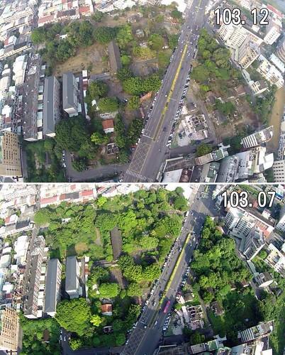 飛雁新村,2014.12空拍V.S2014.07空拍。