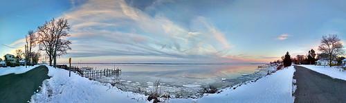 street trees houses sunset panorama snow ice beach river virginia potomac tar ashphalt colonialbeach