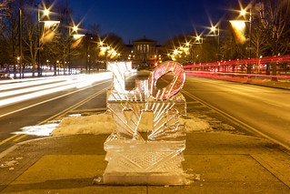 Love Ice Sculpture at Dusk