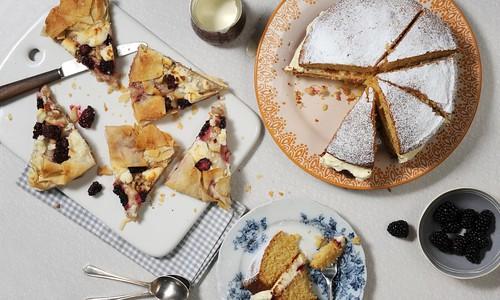 Honeyed Almond Cake with Raspberry and Cream Goat Cheese Jam