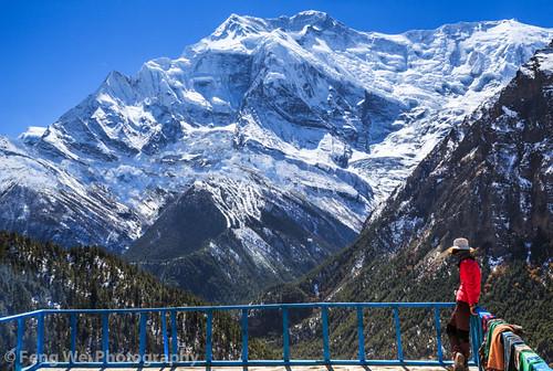 travel nepal mountain snow color rooftop beautiful horizontal landscape amazing scenery asia alone view outdoor scenic vista remote annapurnacircuit annapurna himalayas trekker pisang gandaki annapurnaiii annapurnaconservationarea