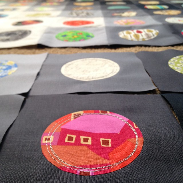 On the Bubble Quilt: Detail of Top Stitching