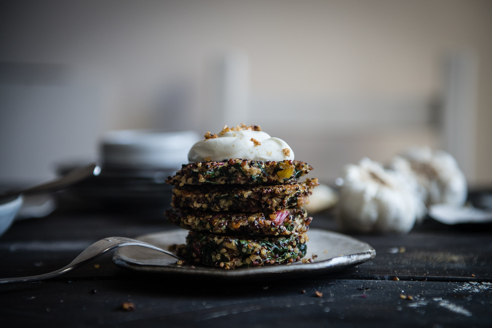 swiss chard & quinoa cakes | two red bowls