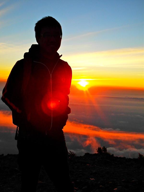 Silhouette against the sun at Mount Merapi, Jogjakarta