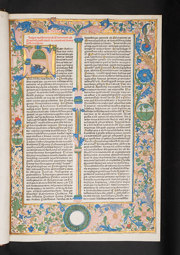 Illuminated and  decorated borders and initial in  Biblia