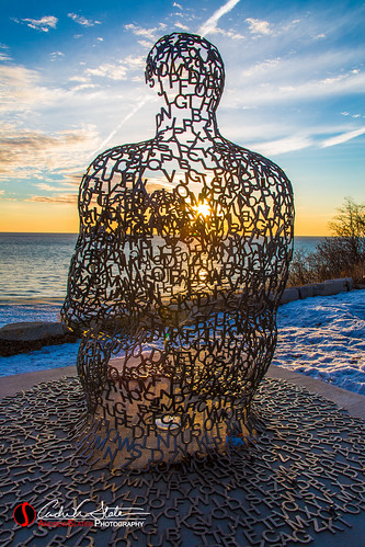 atwaterbeach clouds cold frozen ice lakemichigan landscape sculpture snow spillover sunrise shorewood wisconsin unitedstates discoverwisconsin travelwisconsin landscapephotography landscapes horizon wicounties canon 5dmarkiii winter blue orange