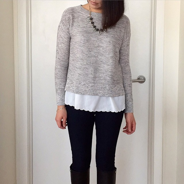 This @loft marled knit bateau #sweater is now $25! (Wearing size SP.) @liketoknow.it www.liketk.it/YbDy #liketkit #loveLOFT #bfftrends #salealert #thenewBR #skinnyjeans #toryburch #hm #whatiwore #wiw #wiwt #whatjesswore #statementnecklace #scallops