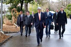 U.S. Secretary of State John Kerry walks back to his hotel in Montreux, Switzerland, on March 4, 2015, after concluding a meeting with Iranian Foreign Minister Javad Zarif about the future of his country's nuclear program. [State Department photo/ Public Domain]