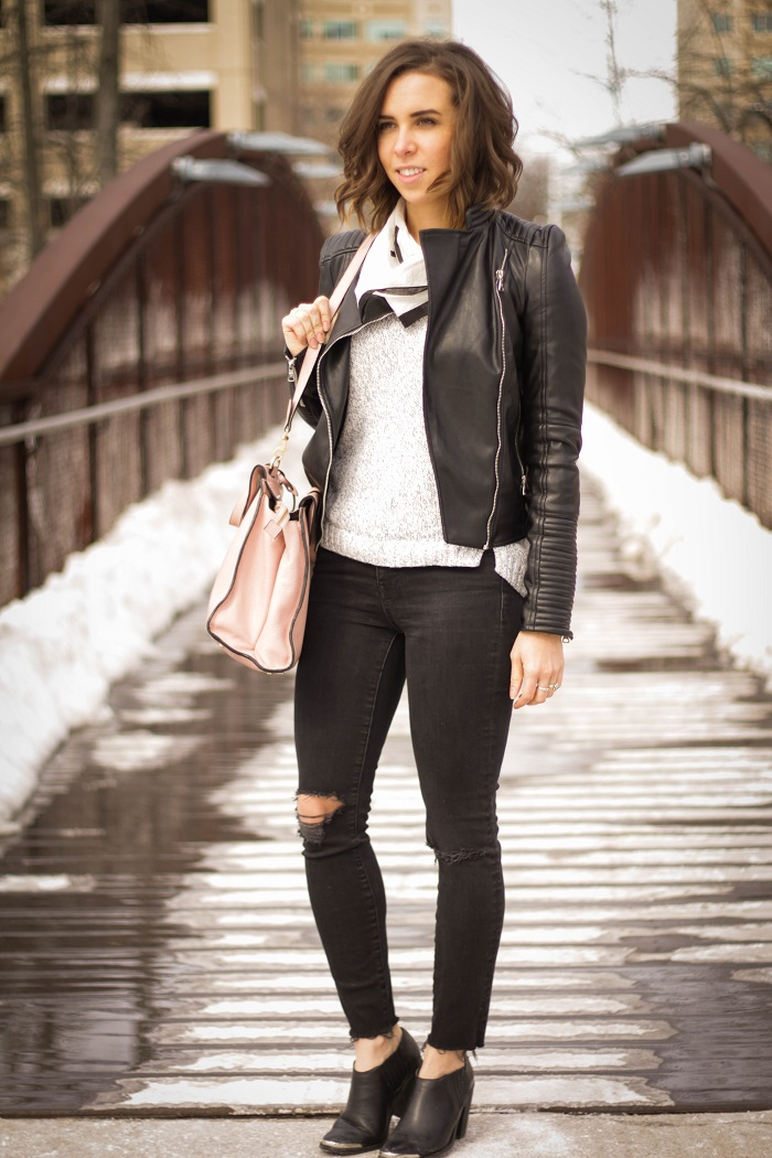aviza style. fashion blogger. dc blogger. distressed black madewell denim. faux leather zara jacket. kate spade saturday a satchel. madewell handkerchief. 1