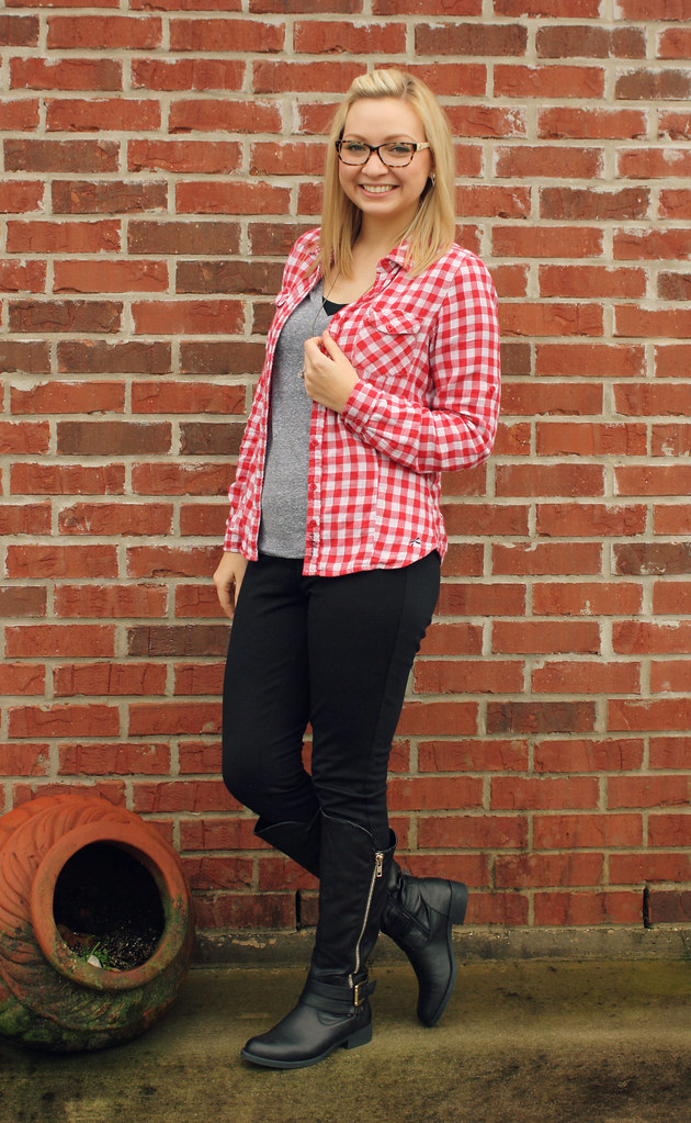red gingham casual outfit