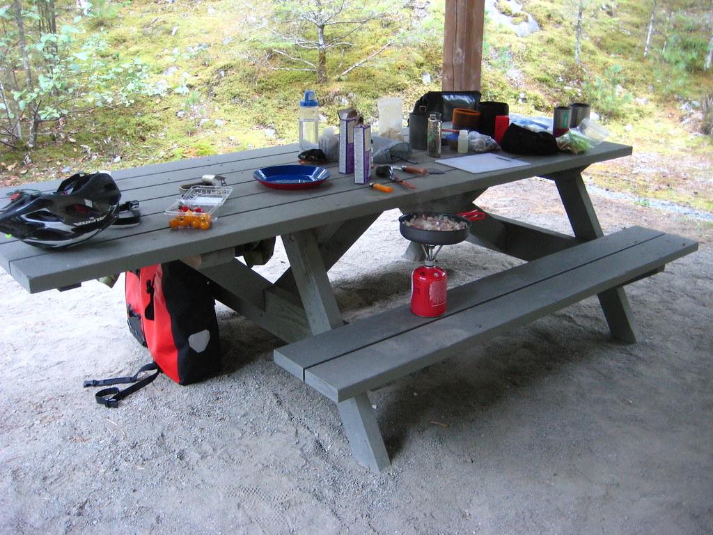 comida en el camping