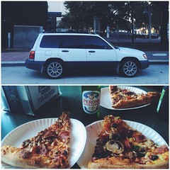 Took the dike bus out to get pizza. Celebrating our broken cars with pizza and beer. @distorto