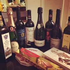 Loot from Italy: wine, olive oil, snacks. #heaven