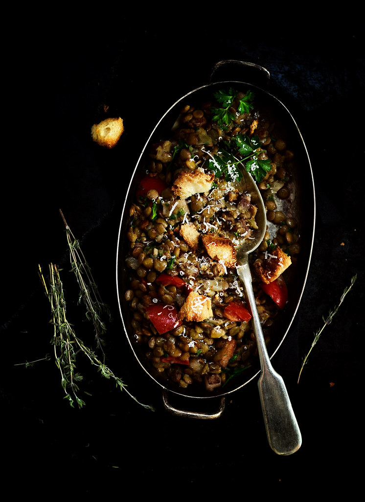 stewed lentil with vegetables and croutons.11