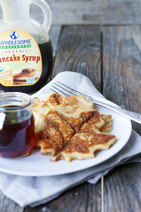 maple leaf cinnamon roll pancakes