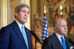 U.S. Secretary of State John Kerry addresses reporters after meeting with French Foreign Minister Laurent Fabius in Paris, France, on November 20, 2014, and before traveling to Vienna, Austria, to join negotiations with Iranian officials about the future of their nuclear program. [State Department photo/ Public Domain]