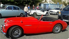 race car(1.0), automobile(1.0), vehicle(1.0), austin-healey 100(1.0), austin-healey 3000(1.0), antique car(1.0), classic car(1.0), vintage car(1.0), land vehicle(1.0), supercar(1.0), sports car(1.0),