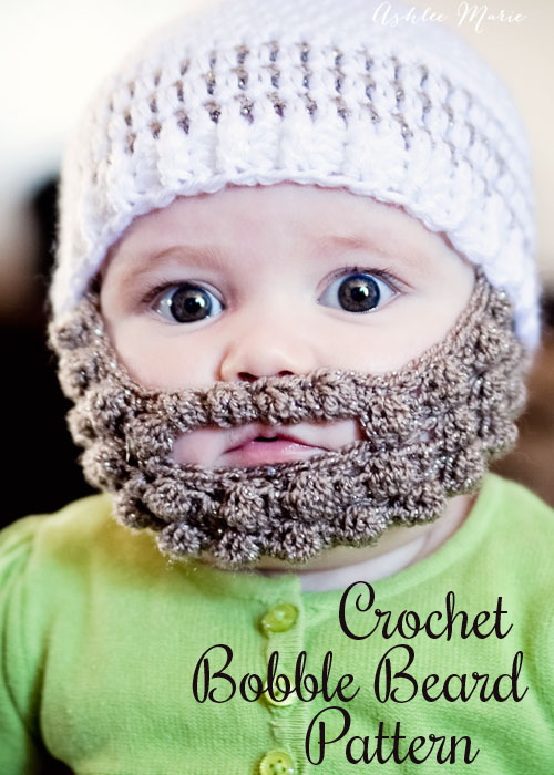Beanie Hat With Beard Crochet Pattern Free : Crochet Bobble Beard pattern - multiple sizes Ashlee Marie
