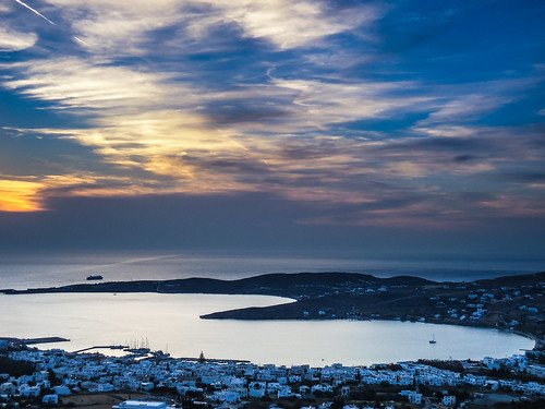 ocean blue houses winter sunset sea sky white seascape colors ferry clouds landscape islands europe mediterranean ship colours sundown aegean hellas greece grecia greekislands paros cyclades seaview paroikia egeo páros feriies