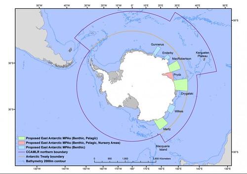 圖說:標記不同海洋保護區的南極地圖