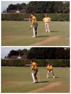 Allan Border (wicketkeeping) & Geoff Marsh (batting) - At Victoria University Wellington - 1986