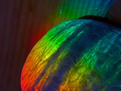 Pebble in rainbow light