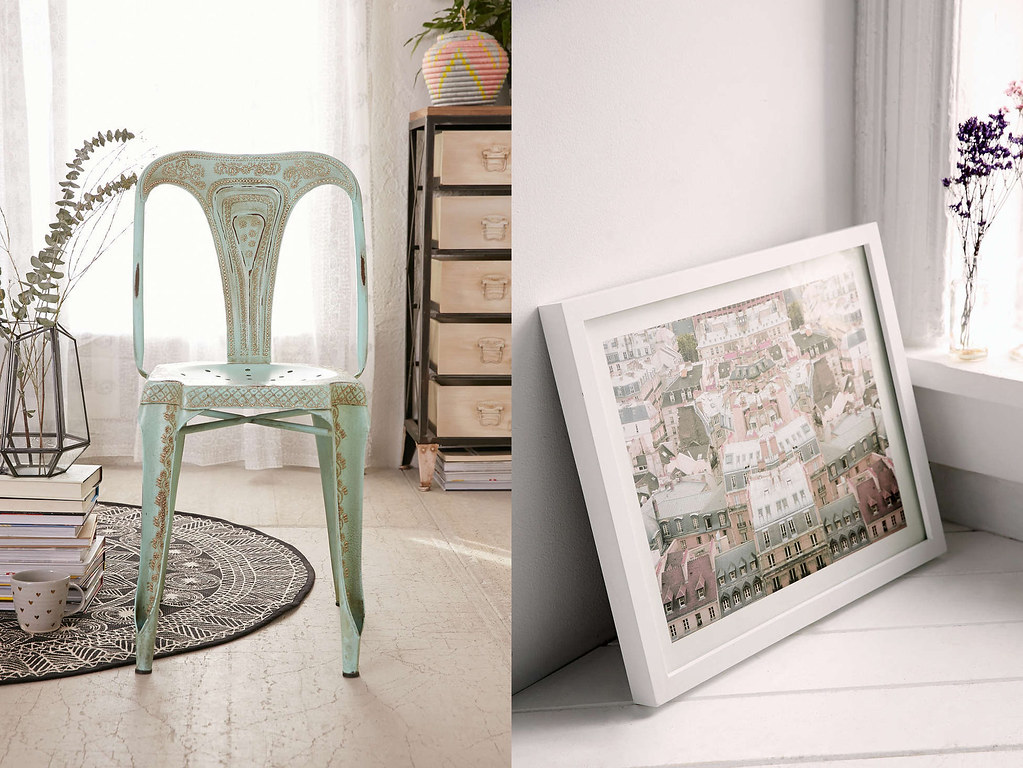 distressed chair and painting from urban outfitters