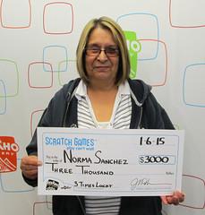 Norma Sanchez - $3,000 3 Times Lucky