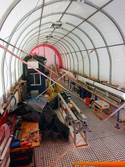 Inside the drill tent after it has been winterized for the 2015 austral winter