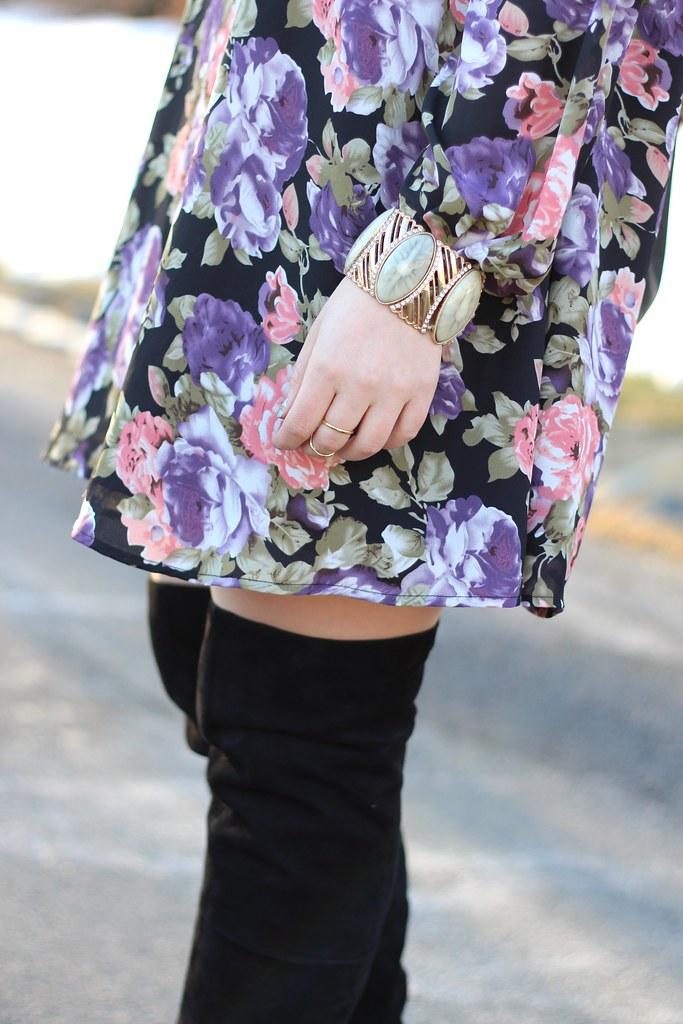 Floral Dress & OTK Boots | #LivingAfterMidnite