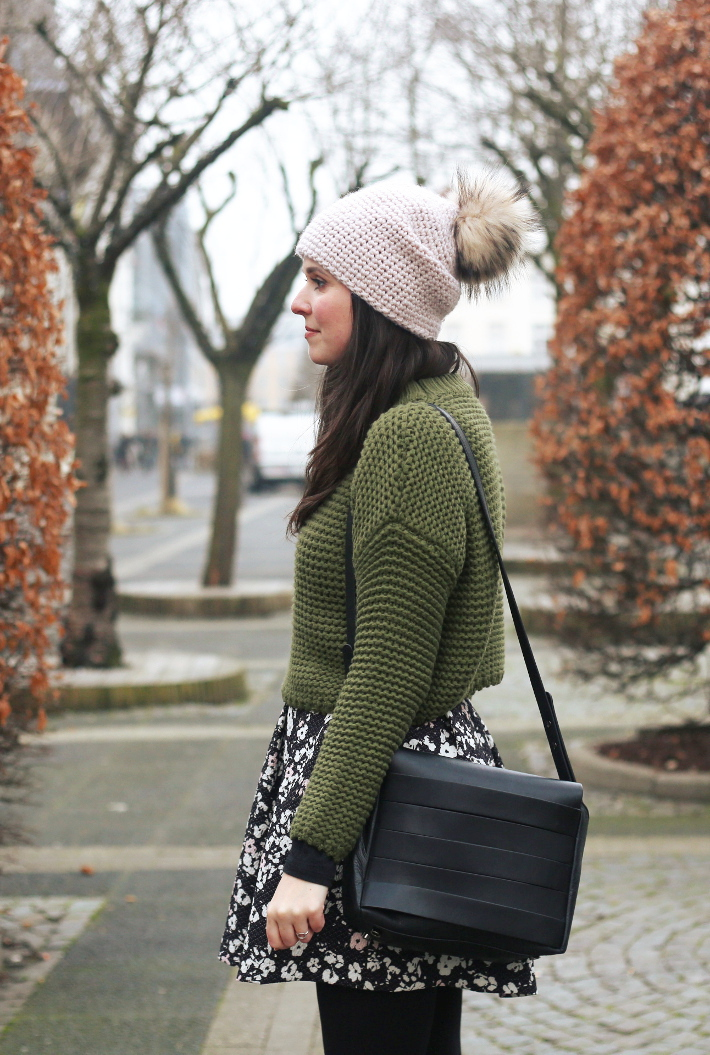 outfit: cropped sweater, pom pom hat, floral skirt