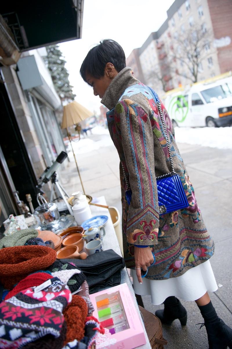 Chanel blue patent boy bag