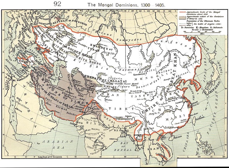 The Mongol world circa 1300 from Shepherd, William`s Historical Atlas