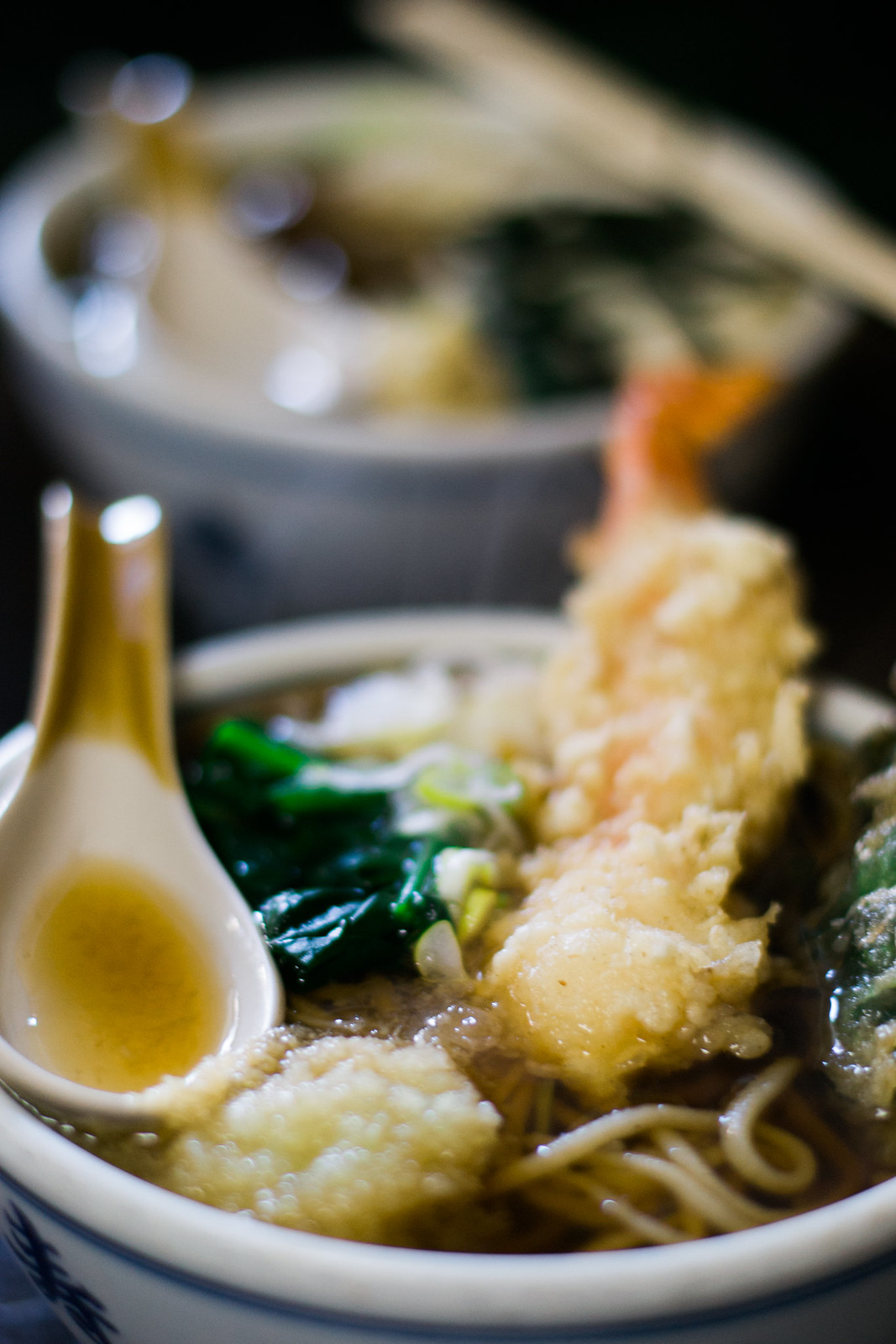 My tempura soba was first served
