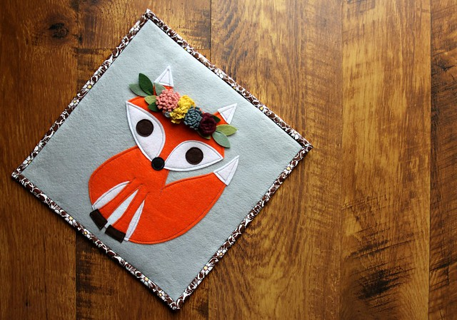 Flower Crown Fox Pillow Cover